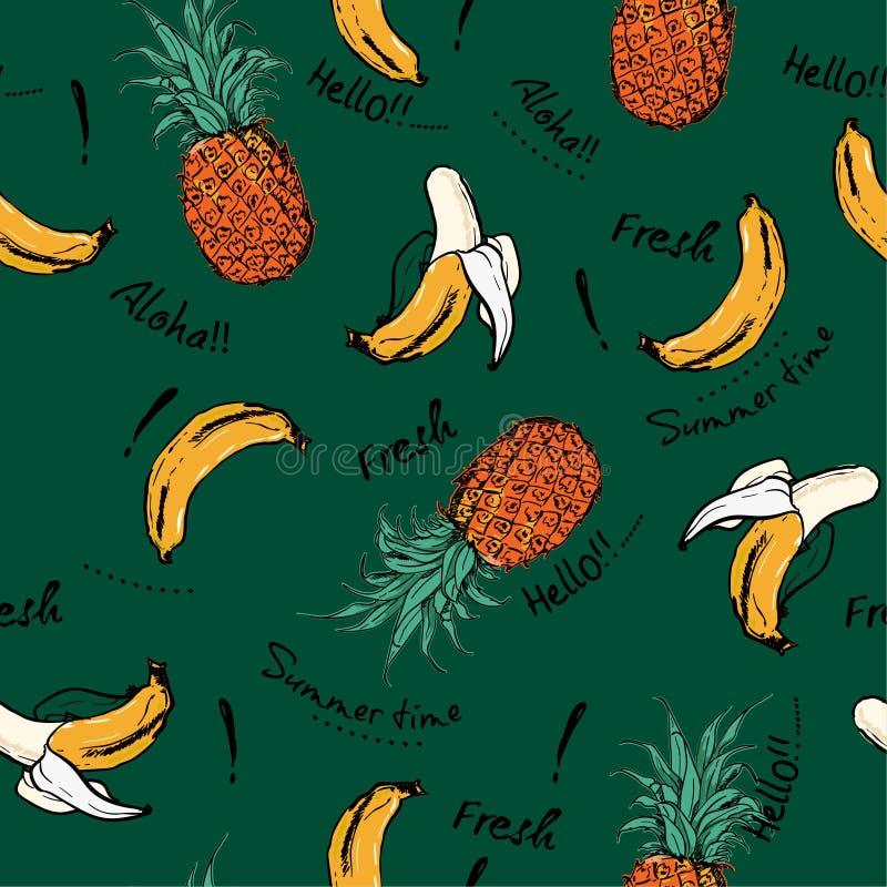 La piña y el plátano retros hermosos dan el bosquejo exhausto, greetin stock de ilustración