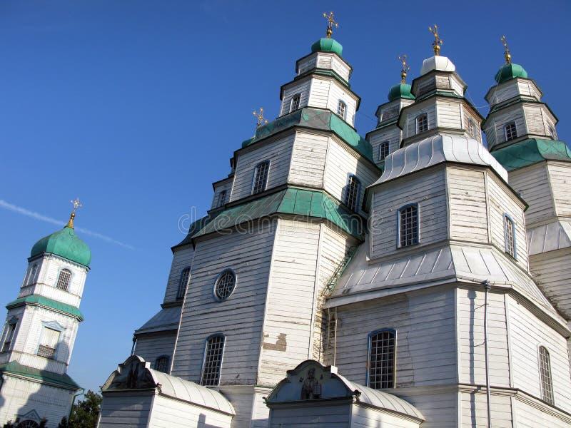 La più grande chiesa di legno dell'Ucraina, cattedrale della trinità santa in Novomoskovsk fotografia stock libera da diritti