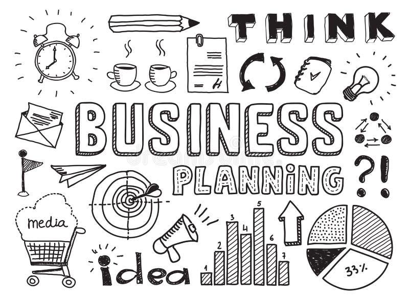 La pianificazione aziendale scarabocchia gli elementi illustrazione vettoriale