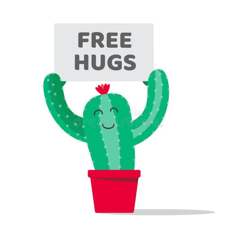 La pianta del cactus nel vaso con il piatto libera gli abbracci illustrazione di stock