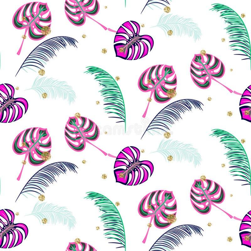 La pianta tropicale di rosa di Monstera lascia il modello senza cuciture royalty illustrazione gratis