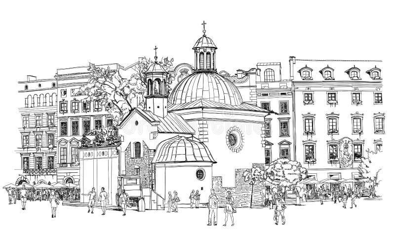 La piazza a Cracovia poland royalty illustrazione gratis