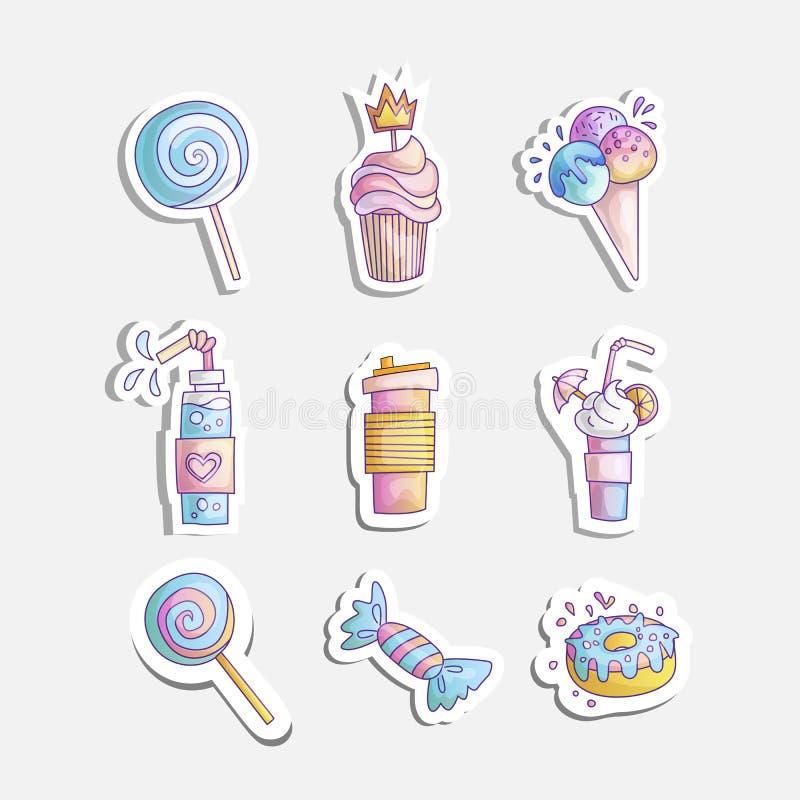 La piccola icona di principessa del fumetto sveglio ha messo - il gelato dei dolci, il dolce, i cocktail, la ciambella e la lecca royalty illustrazione gratis