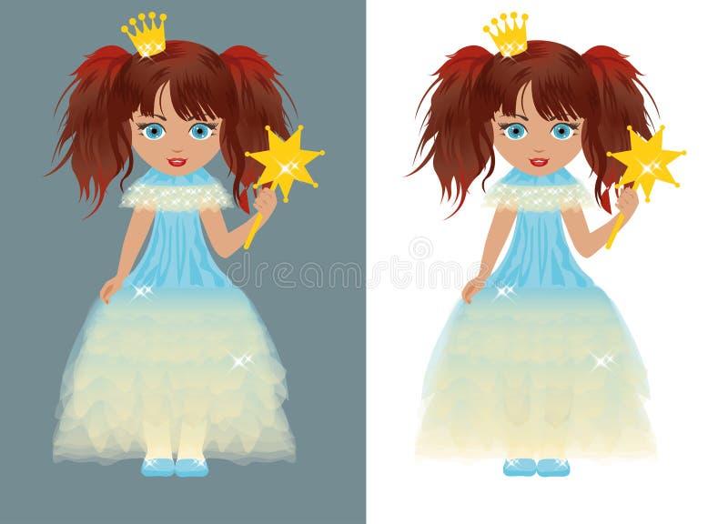 La piccola principessa con una bacchetta magica illustrazione vettoriale