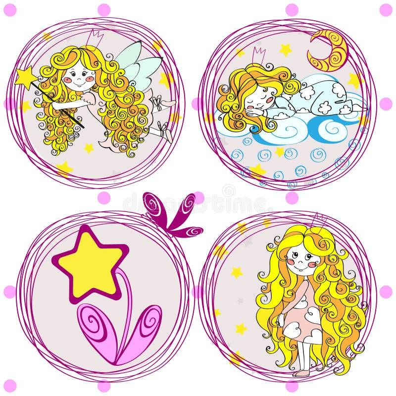 La piccola ragazza leggiadramente sveglia ha messo nella corona con le stelle Illustrazione disegnata a mano di vettore Progettaz illustrazione vettoriale