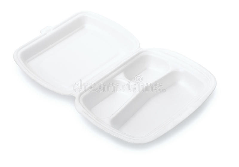 La piccola schiuma tripla del compartimento elimina il contenitore di alimento immagine stock