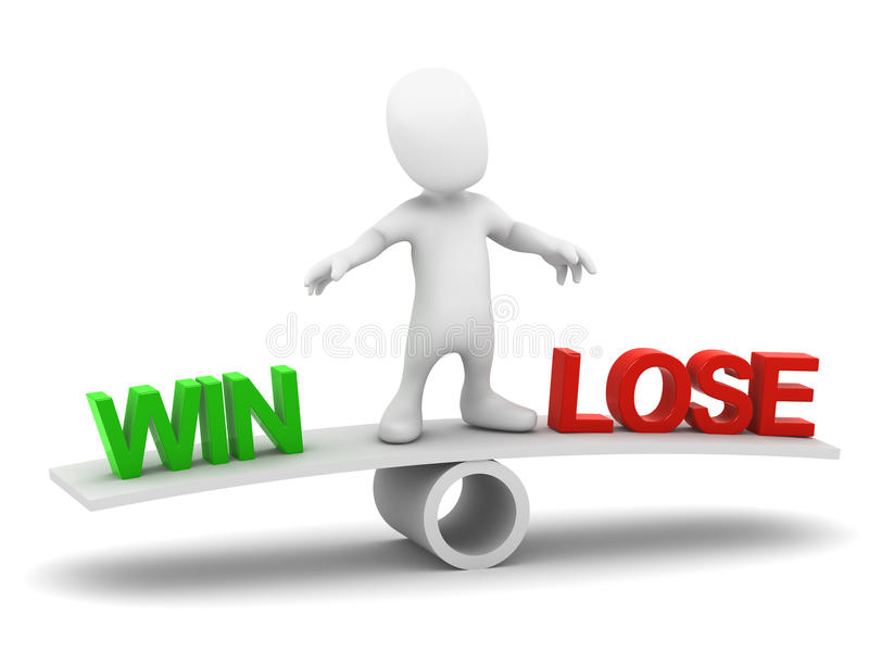 la piccola vittoria degli equilibri dell'uomo 3d o perde illustrazione vettoriale