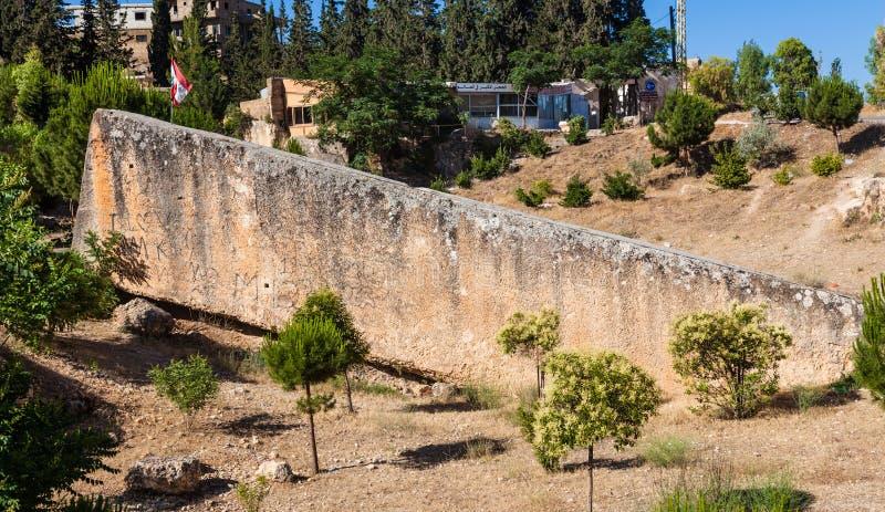 La piedra más grande del mundo en Baalbeck (Heliópolis antigua) en Líbano foto de archivo