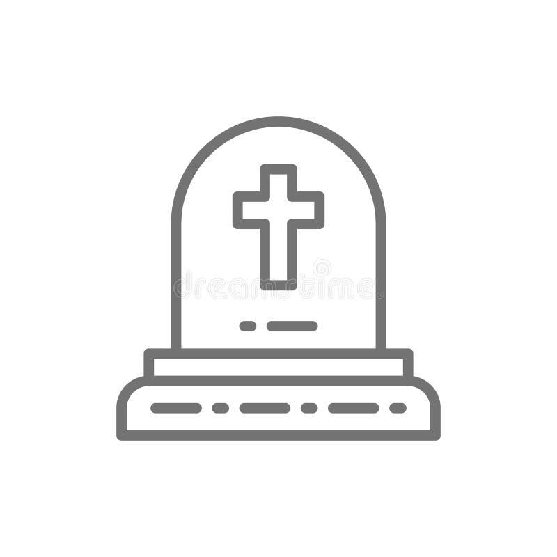 La piedra sepulcral con la cruz cristiana, sepulcro, lápidas mortuarias alinea el icono stock de ilustración
