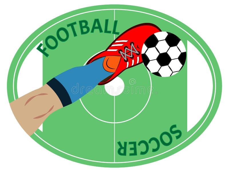 La pierna del futbolista golpea apagado el balón de fútbol con el pie Símbolo, emblema o remiendo del deporte stock de ilustración