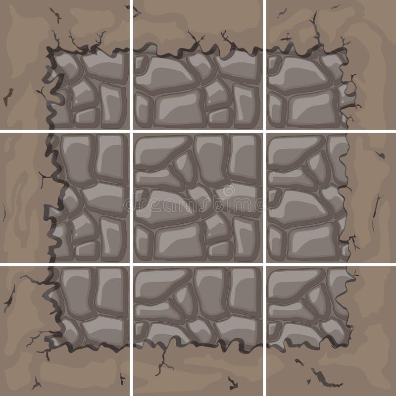 La pierre couvre de tuiles le kit illustration stock