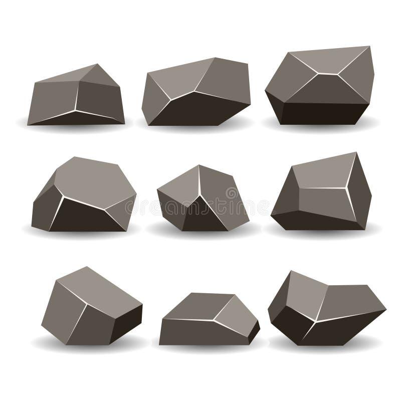 La pierre de roche, vue isométrique, a placé 3d illustration de vecteur