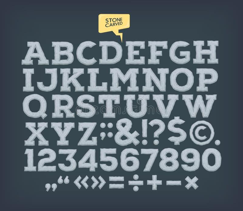 La pierre a fait ABC Alphabet de vintage de vecteur illustration libre de droits