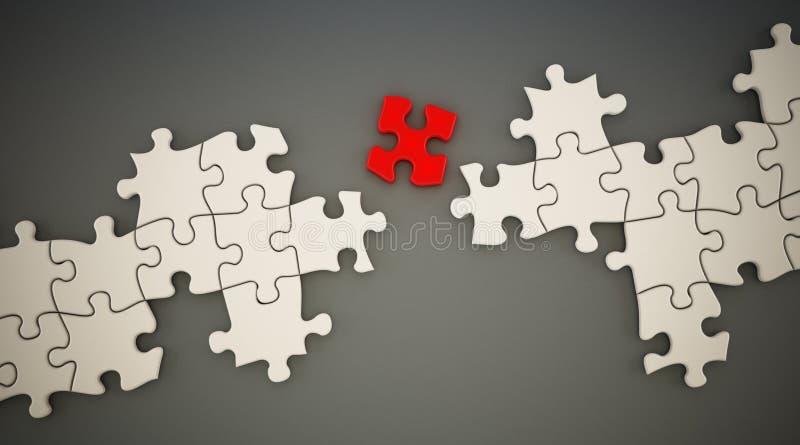 La pieza roja del rompecabezas que se coloca entre el rompecabezas blanco parte ilustración 3D libre illustration