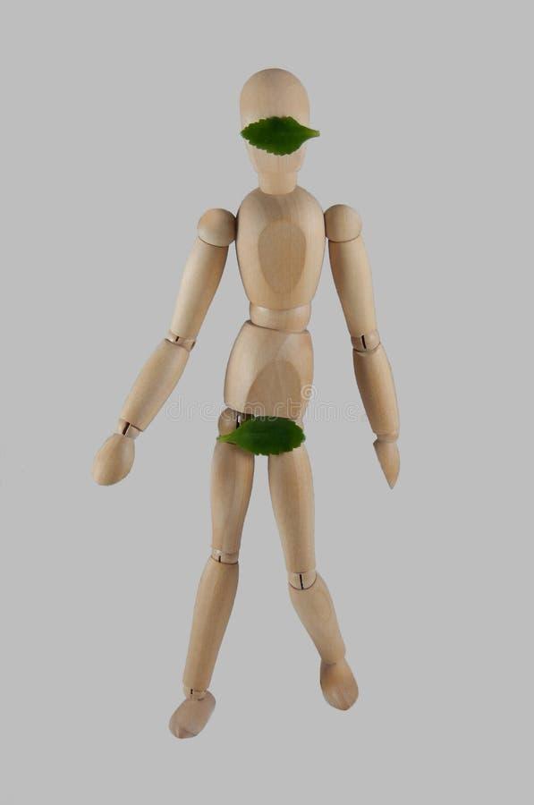 La pieza y los ojos sexuales del ` s de la marioneta se cubren con las hojas imagenes de archivo