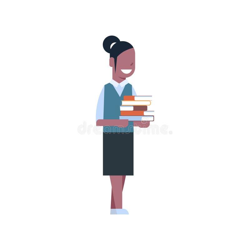 La pila afroamericana del control de la colegiala de libros aisló el uniforme que llevaba de la colegiala caucásica linda ilustración del vector