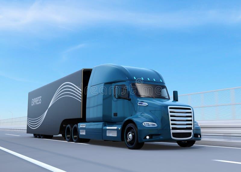 La pila de combustible azul metálica accionó el camión americano que conducía en la carretera ilustración del vector