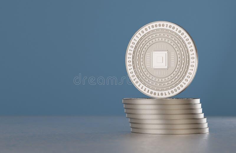 La pila de crypto-moneda de plata acuña con símbolo de la CPU como ejemplo para la moneda digital, las actividades bancarias en l imagen de archivo libre de regalías