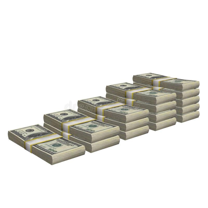 La pila de 100 dólares del billete de banco de la cuenta de los E.E.U.U. de billete de banco del dinero aisló En un fondo blanco libre illustration