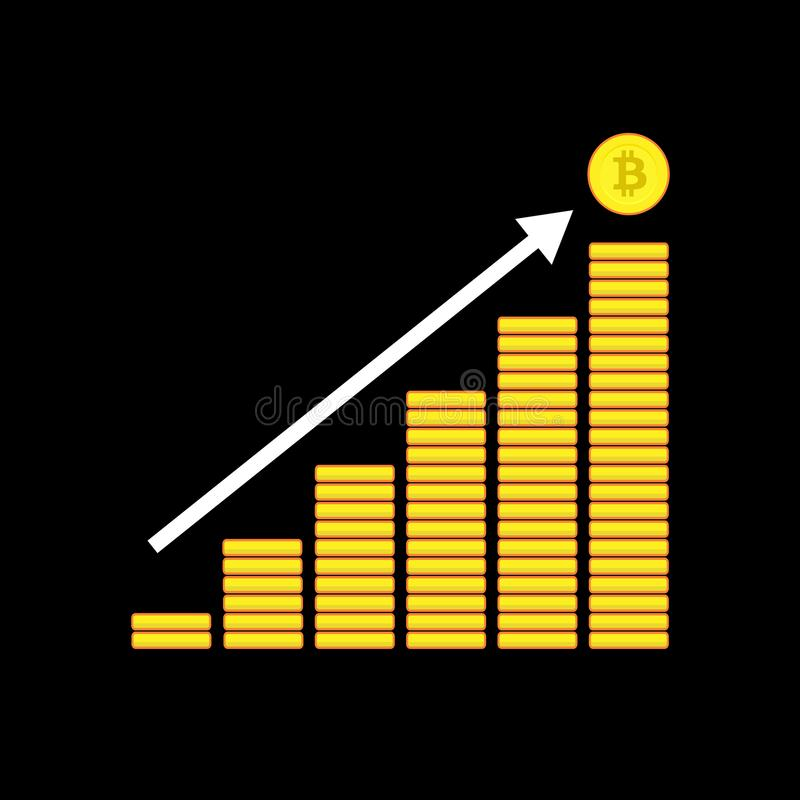 La pila de ejemplo de las monedas, representa el crecimiento del bitcoin ilustración del vector