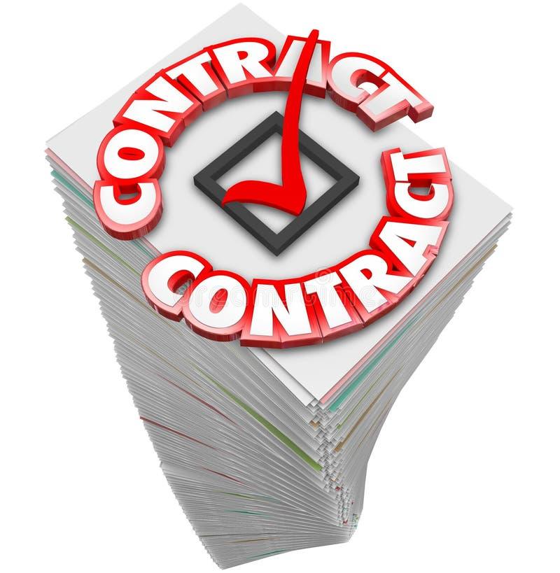 La pila de la pila del papeleo de la palabra del contrato 3d documenta los ficheros S del funcionario libre illustration