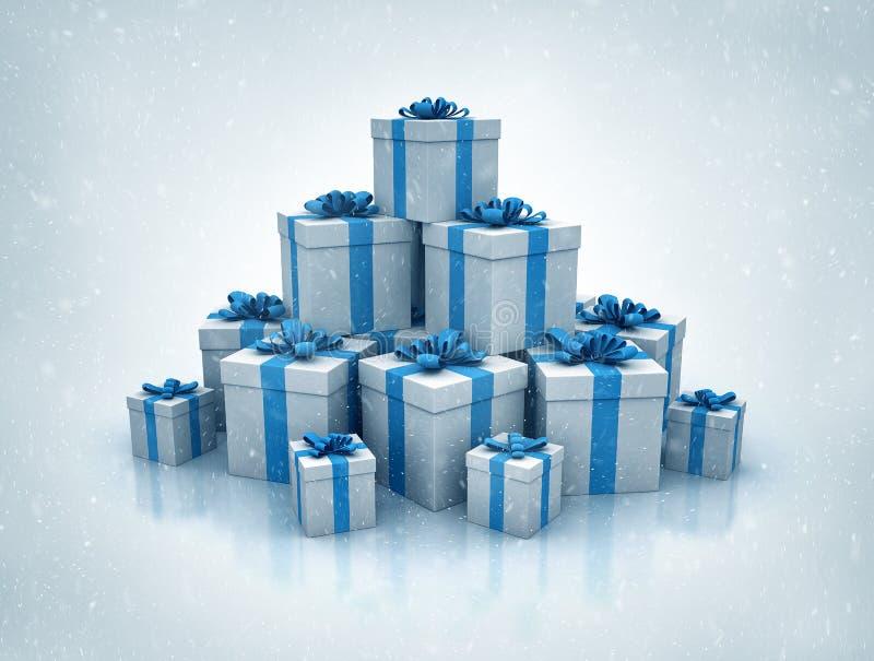 La pila de las cajas de regalo azules 3d de alta calidad rinde stock de ilustración