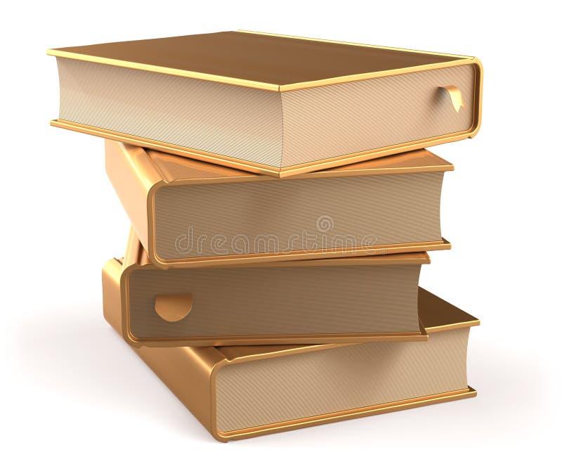La pila de libro de oro de los libros cubre los libros de texto amarillos de oro ilustración del vector