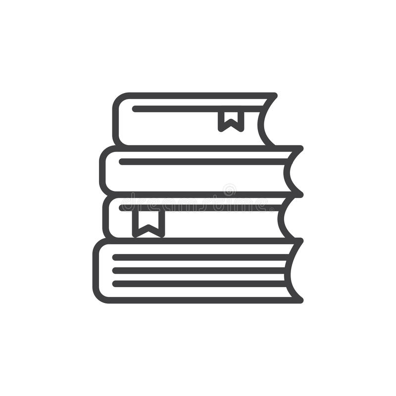La pila de libros alinea el icono, muestra del vector del esquema, pictograma linear del estilo aislado en blanco stock de ilustración