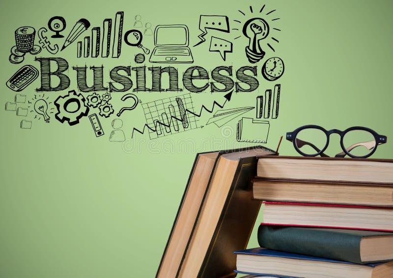 La pila de libros y de vidrios con negocio negro garabatea contra fondo verde stock de ilustración