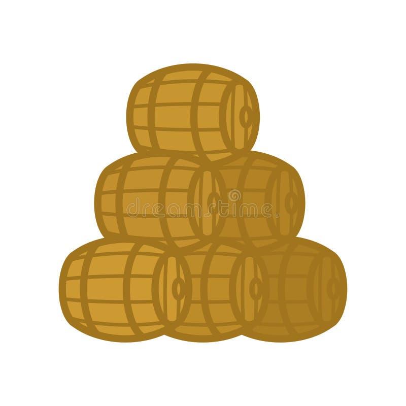 La pila de madera del barril aisló ejemplo del vector del barril libre illustration