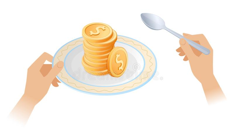 La pila de monedas en el plato libre illustration