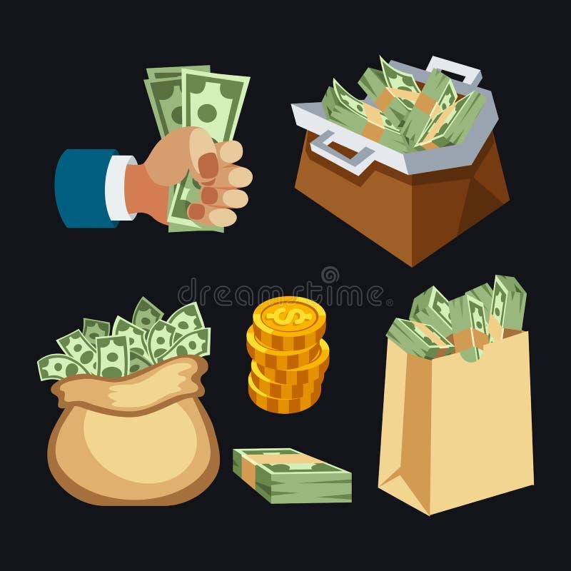 La pila de papel del dinero de las finanzas del negocio del dólar en el bolso de paquetes nosotros edición de las actividades ban ilustración del vector