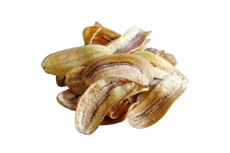 La pila de plátano frió, rebanada frita plátano de los pedazos ligeramente, los pedazos del plátano muchos frito en el fondo blan imagenes de archivo