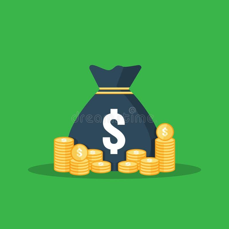 la pila del dólar acuña el icono la pila y el dinero de oro del oro empaquetan para el ahorro del beneficio cuenta de los cálculo stock de ilustración