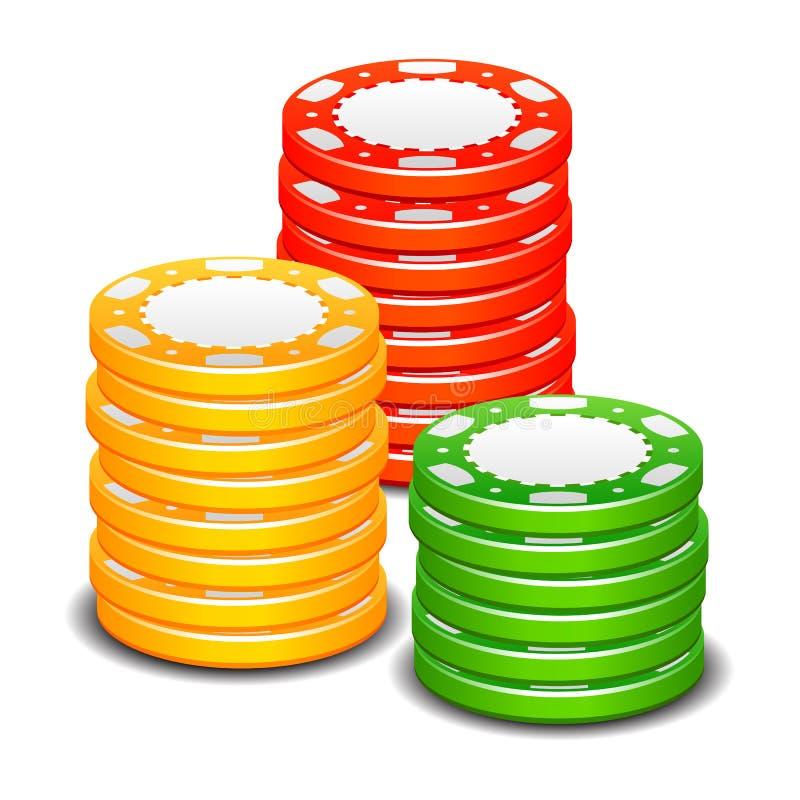 La pila del póker del casino de juego salta la muestra del color libre illustration