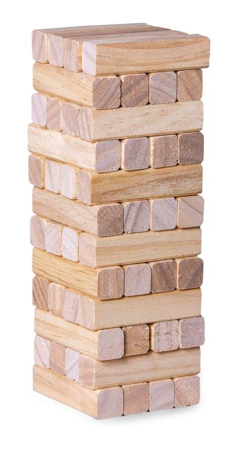 La pila della torre dai blocchi di legno gioca immagine stock libera da diritti