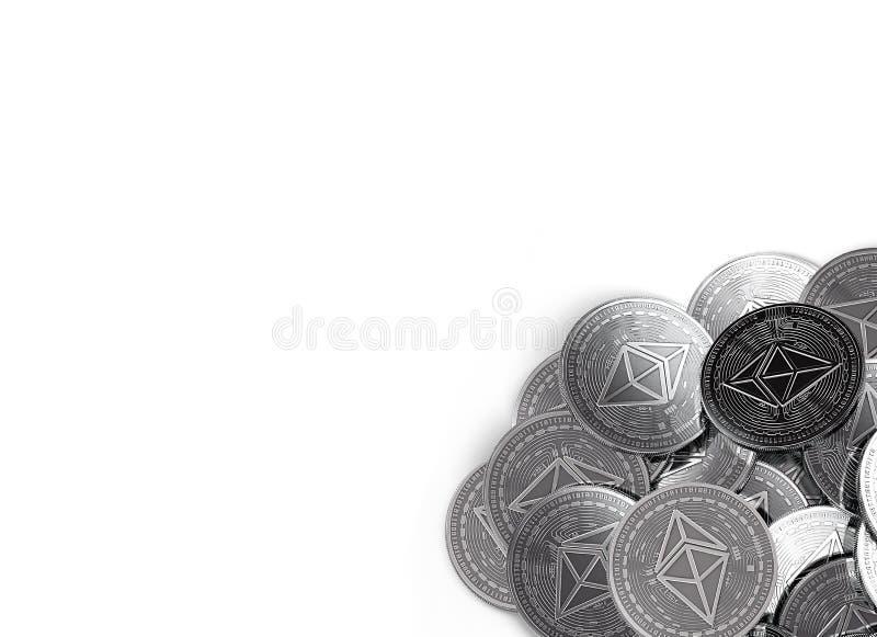 La pila di Ethereum d'argento conia nell'angolo di fondo-parte di destra isolato su bianco e sullo spazio della copia per il vost illustrazione di stock