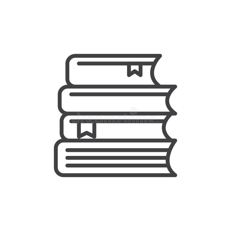 La pila di libri allinea l'icona, segno di vettore del profilo, pittogramma lineare di stile isolato su bianco illustrazione di stock
