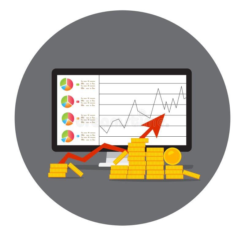 La pila di moneta dorata gradisce il grafico di reddito illustrazione di stock
