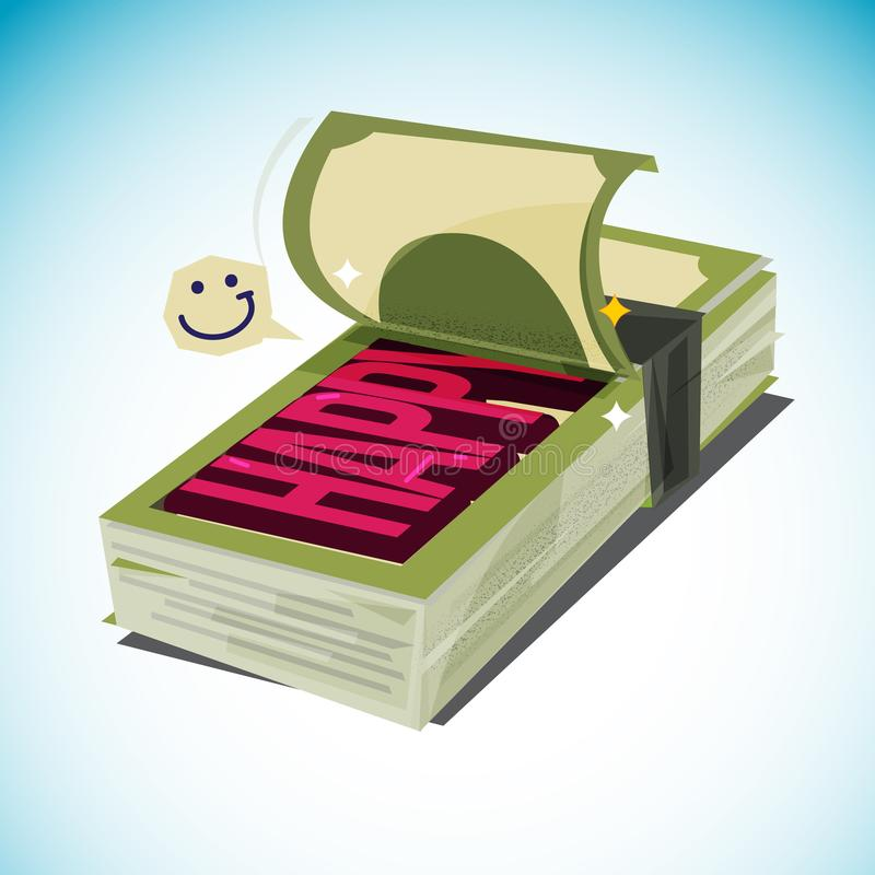 La pile d'argent ouverte et le ` heureux de ` des textes d'exposition plus d'argent te font le concept heureux illustration libre de droits