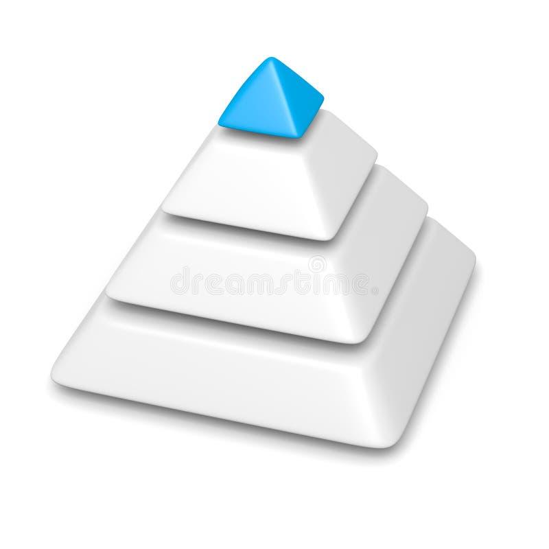 La pile de niveaux de la pyramide 4 a accompli le morceau supérieur bleu illustration stock