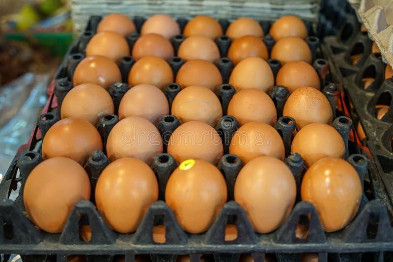 La pile de plateaux noirs complètement de poulet naturel eggs le modèle de rangées se vendant sur le marché local, foyer sélectif photographie stock libre de droits