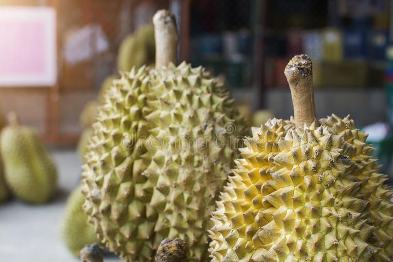 La pile du durian de ` de lani?re de lundi de ` est roi de fruit sur le march? tha?landais image libre de droits