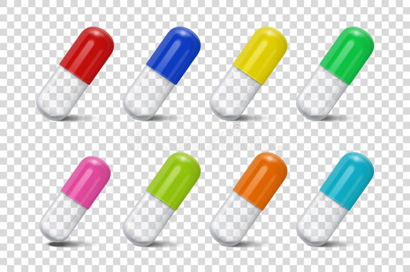 La pillola medica di colore differente realistico 3d di vettore, incapsula l'icona e l'insieme del modello isolati su fondo trasp illustrazione vettoriale