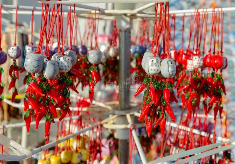 La pimienta roja de Suverin es un símbolo de la región de Calabria fotos de archivo