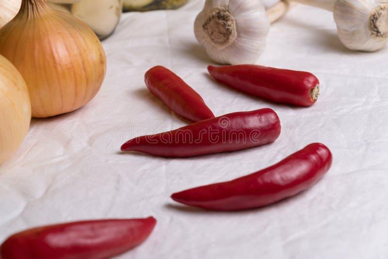 La pimienta roja miente en una tela blanca en medio de cebollas y del ajo imagenes de archivo