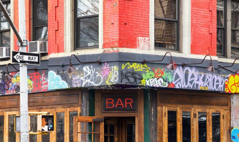 La pintada cubrió la barra en New York City fotografía de archivo libre de regalías