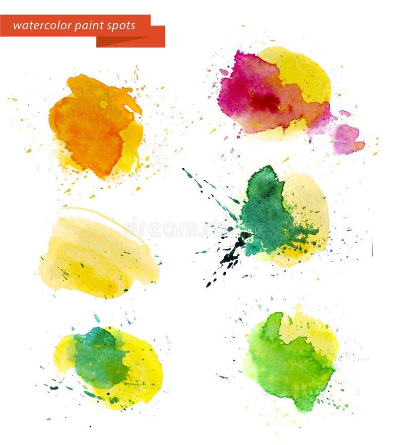 La pintura abstracta artística de la acuarela cae la colección aislada en el fondo blanco ilustración del vector