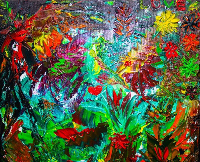 La pintura al óleo abstracta original Fondo Textura stock de ilustración