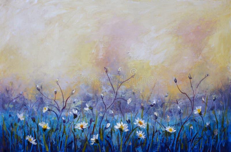 la pintura al óleo de flores, campo hermoso florece en lona Impresionismo moderno Ilustraciones de Impasto stock de ilustración